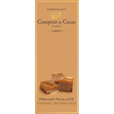 Tablette de Chocolat. Praliné feuilleté Caramel Beurre Salé