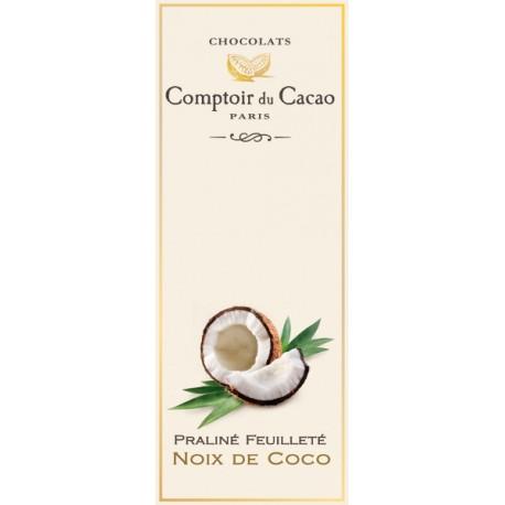 Tablette de Chocolat. Praliné Feuilleté Noix de Coco