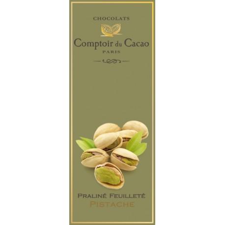 Tablette de Chocolat. Praliné Feuilleté Pistache